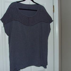 Lane Bryant Eyelet Mixed Tee Shirt Size 22/24 Blue